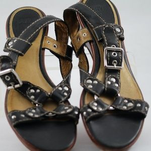 Frye Black Leather Sandals. Size 8